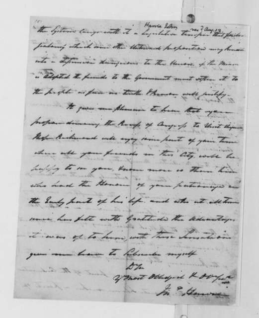 John Harvie to Thomas Jefferson, August 3, 1790