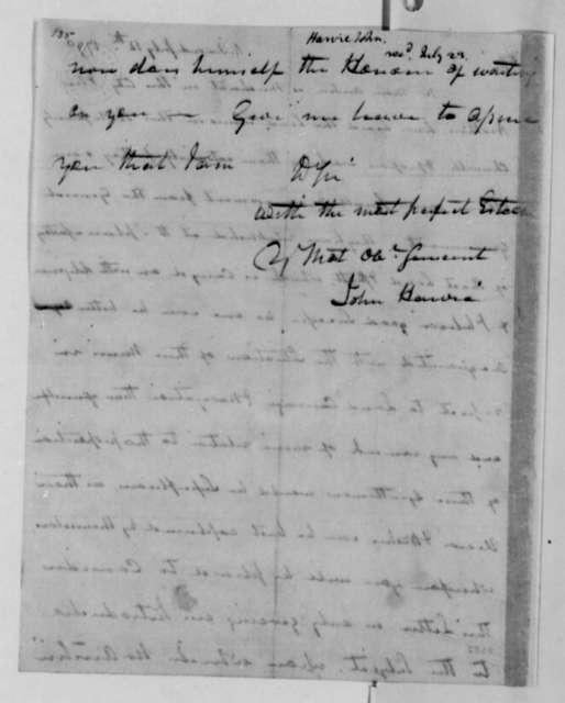 John Harvie to Thomas Jefferson, July 12, 1790