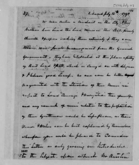 John Harvie to Thomas Jefferson, July 12, 1790