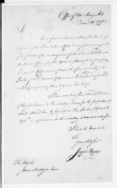 Joseph Howell to James Madison, December 28, 1790.