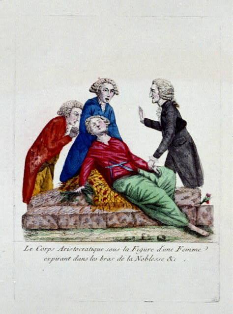 Le corps Aristocratique sous la figure d'une femme expirant dans les bras de la Noblesse &c.