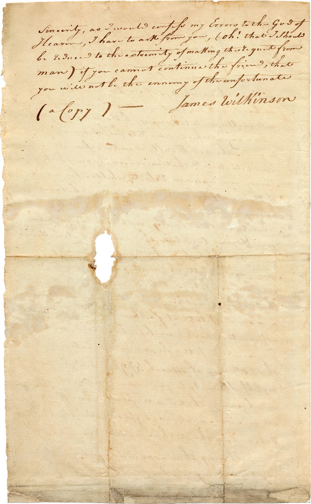 Letter from James Wilkinson to [Michael Lacassagne]