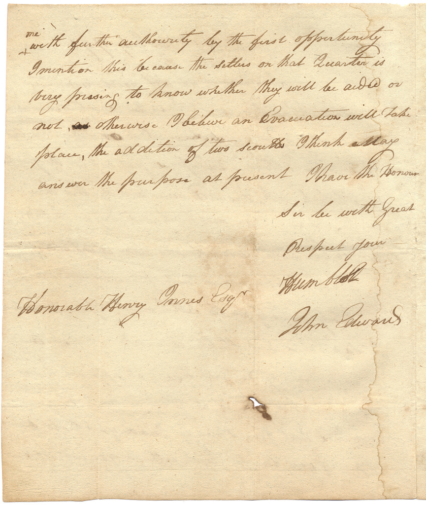 Letter from John Edward to Harry Innes