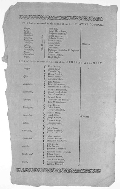 List of persons returned as members of the Legislative council [13 names] List of persons returned as members of the General Assembly. [37 names] [Probably before 1800].
