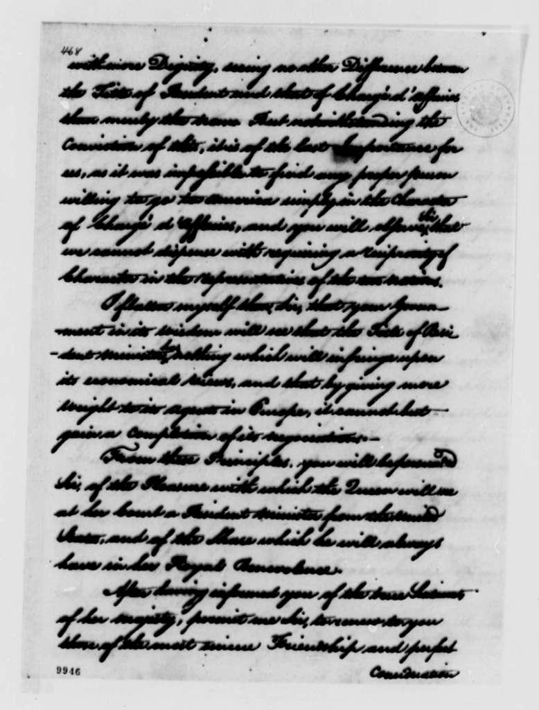 Louis de Pinto to Thomas Jefferson, November 30, 1790, with Copy