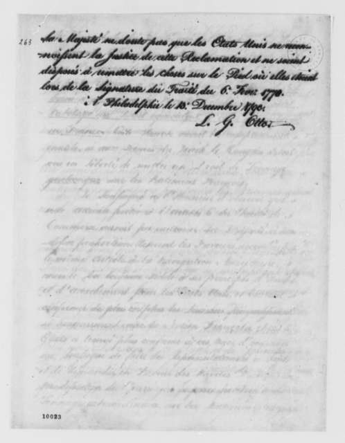 Louis Guillaume Otto to Thomas Jefferson, December 13, 1790, in French