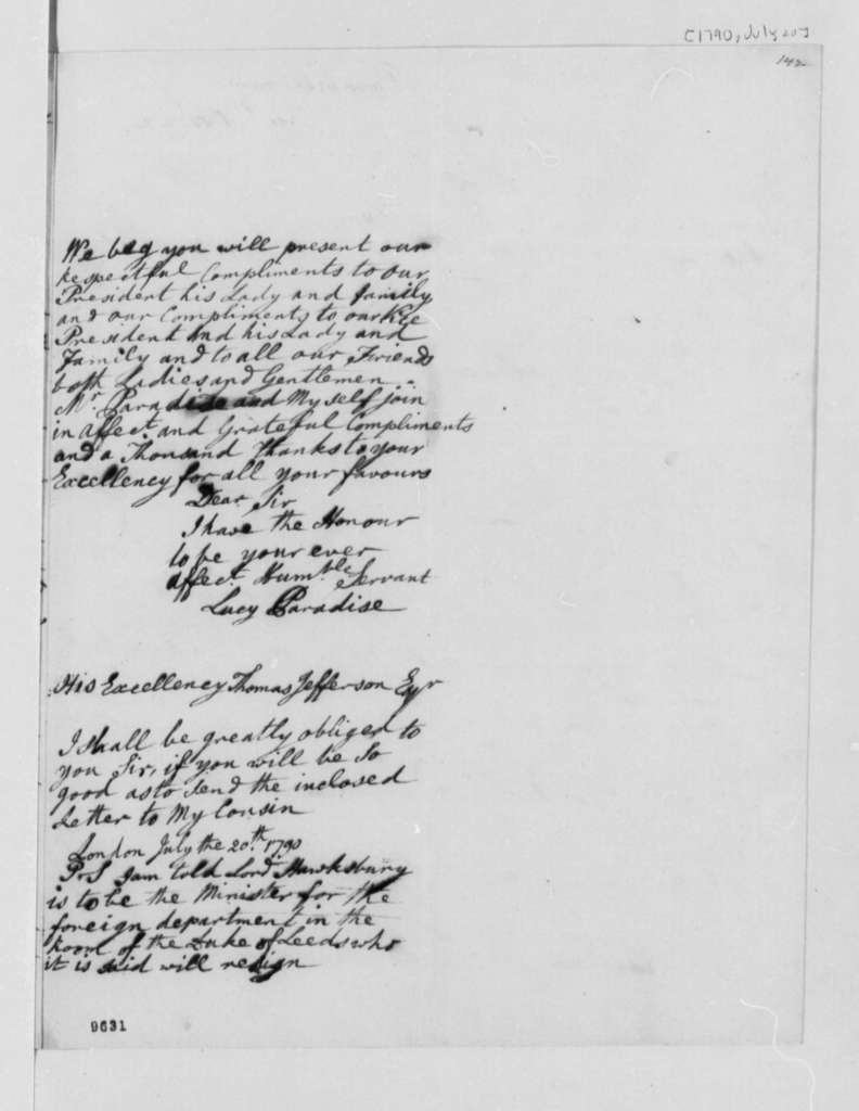 Lucy Ludwell Paradise to Thomas Jefferson, July 20, 1790