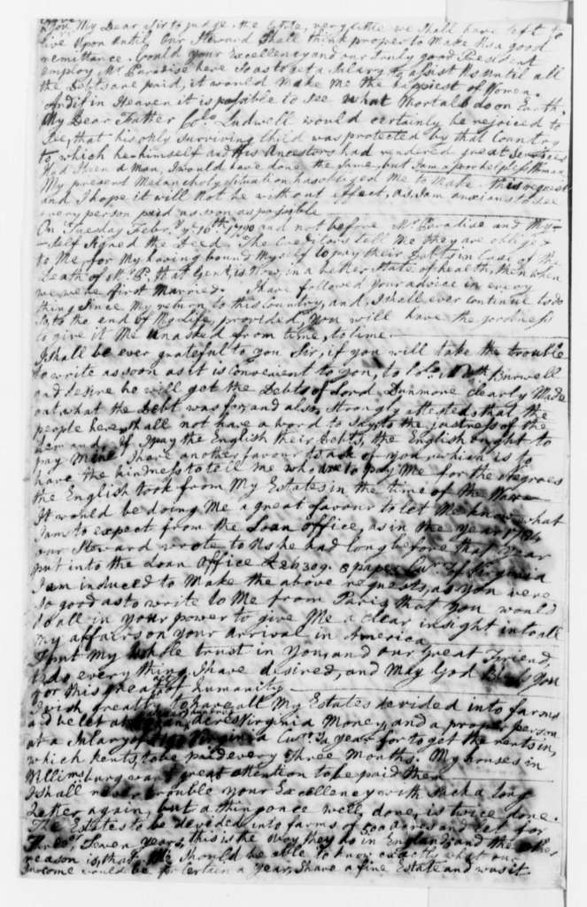 Lucy Ludwell Paradise to Thomas Jefferson, March 2, 1790