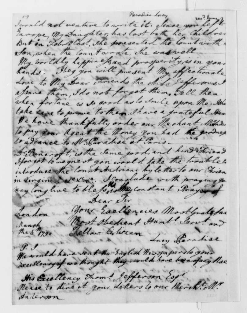 Lucy Ludwell Paradise to Thomas Jefferson, March 5, 1790