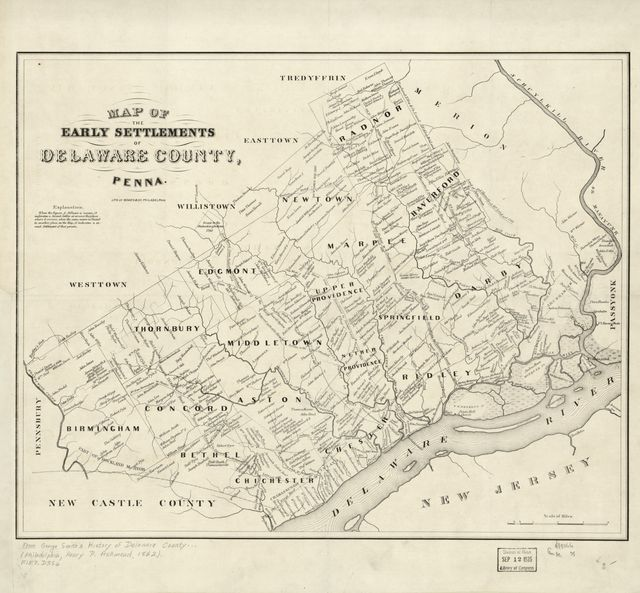 Map of the early settlements of Delaware County, Penna.