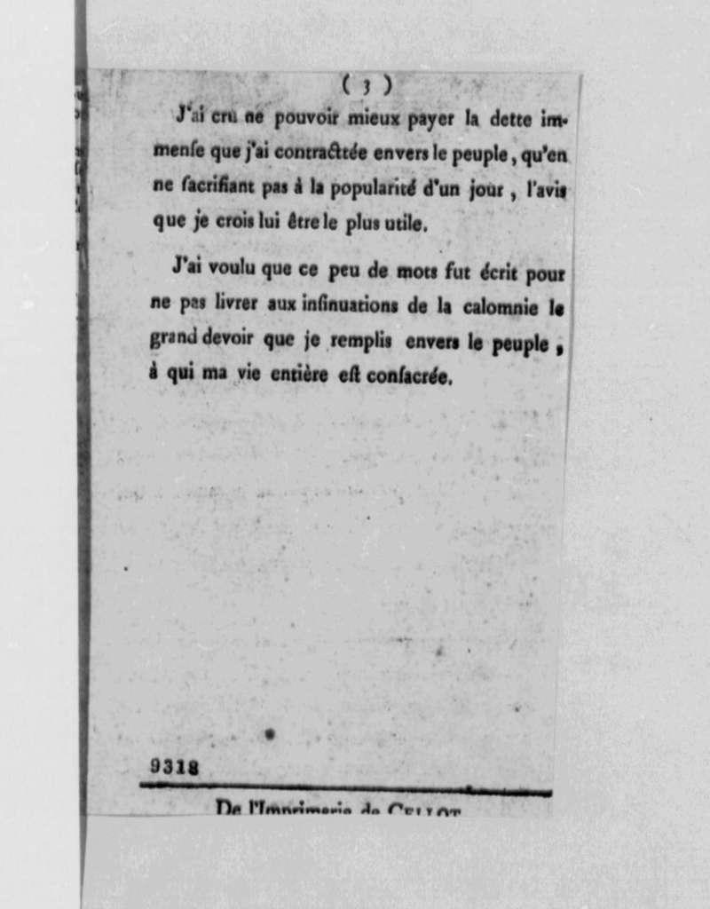 Marie Joseph Paul Yves Roch Gilbert du Motier, Marquis de Lafayette, May 22, 1790, Opinion de M. De La Fayette; Printed Pamphlet in French, with Clippings