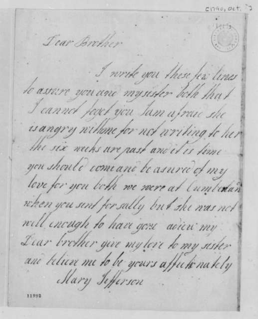Mary Jefferson to Thomas Randolph, October 1790