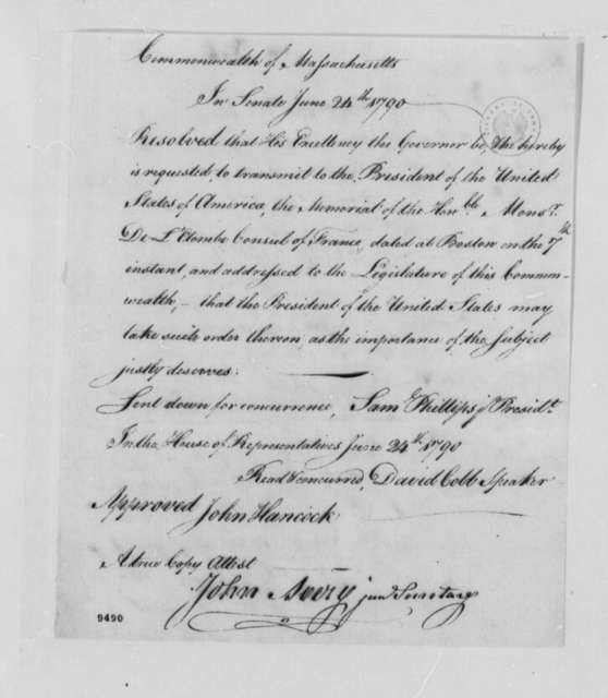 Massachusetts Legislature, June 7, 1790, Resolution Transmitting Memorial from Consul of France