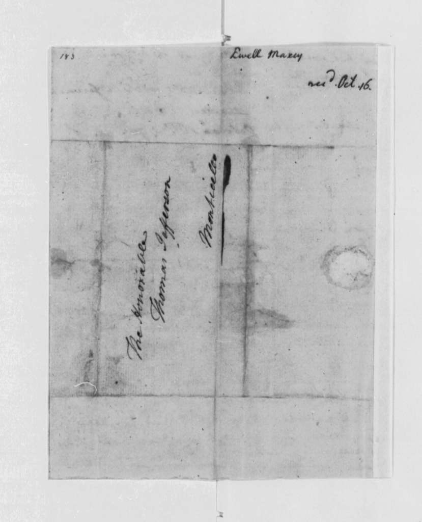 Maxcey Ewell to Thomas Jefferson, October 16, 1790