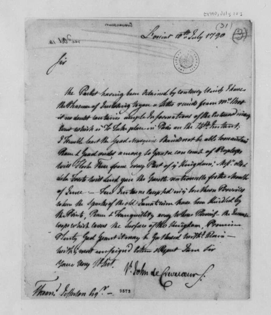 Michel G. J. de Crevecoeur to Thomas Jefferson, July 10, 1790