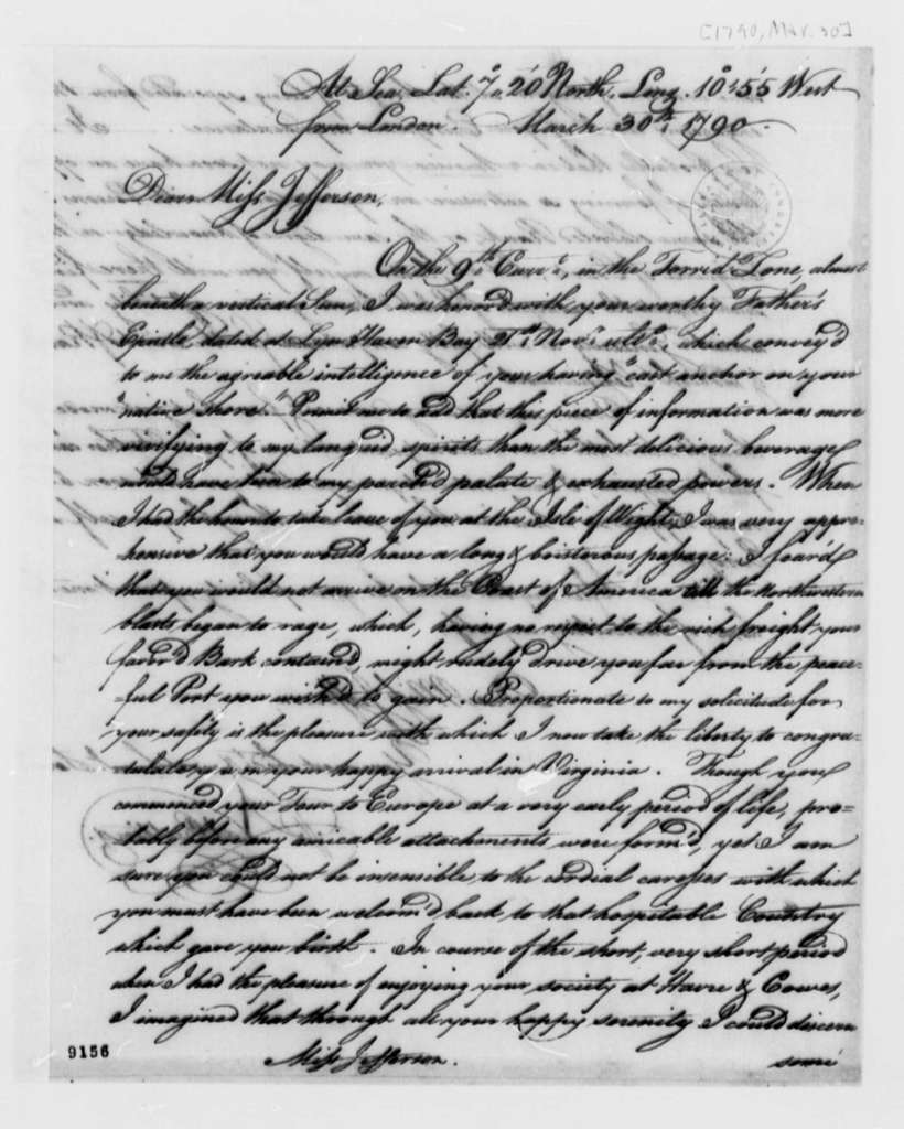 Nathaniel Cutting to Miss Jefferson, March 30, 1790