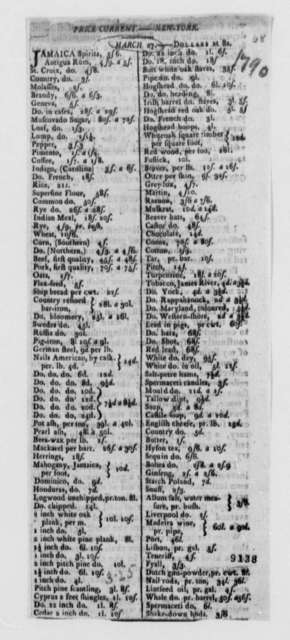 New York, March 27, 1790, Newspaper Clipping on Current Prices of Goods