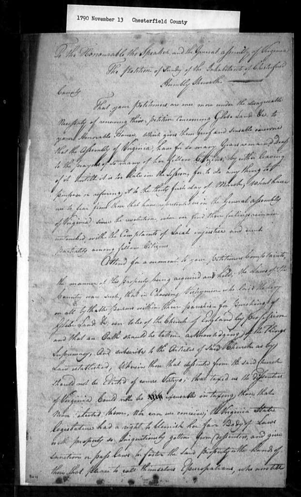 November 13, 1790, Chesterfield, For sale of glebes.