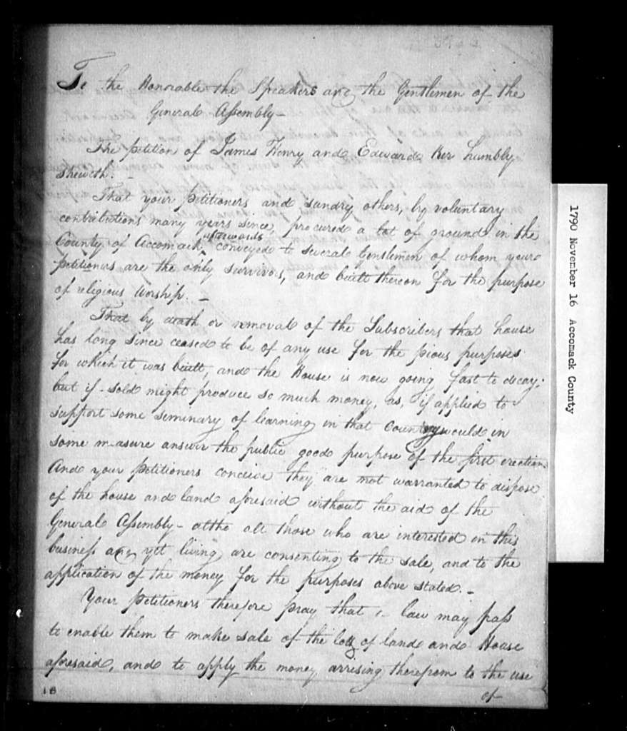 November 16, 1790, Accomack, James Henry and Edward Ker, for sale of tract of land and house used for public worship, now abandoned.