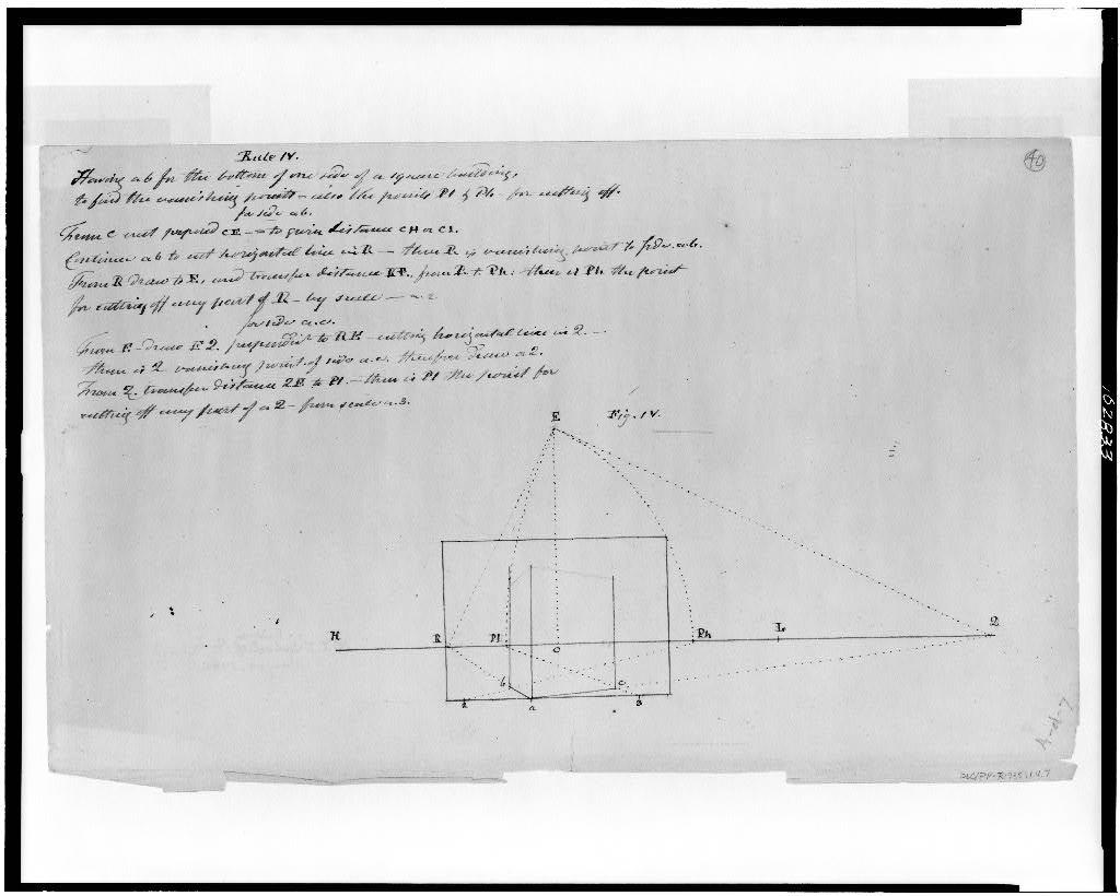 [Perspective rule for drawing square structure illustrated with geometrical diagram; figure IV]