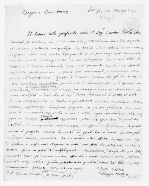 Philip Mazzei to James Madison, March 23, 1790. In Italian.