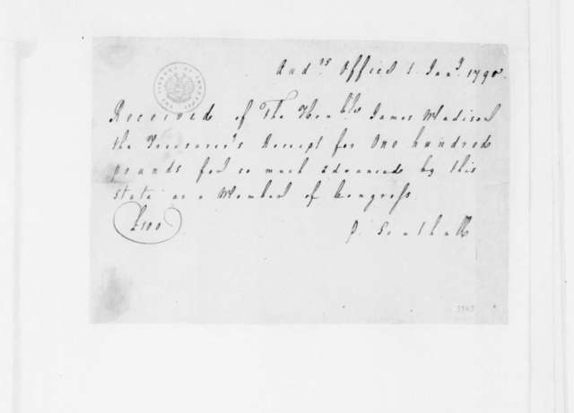 Philip Southall to James Madison, January 1, 1790. Receipt.