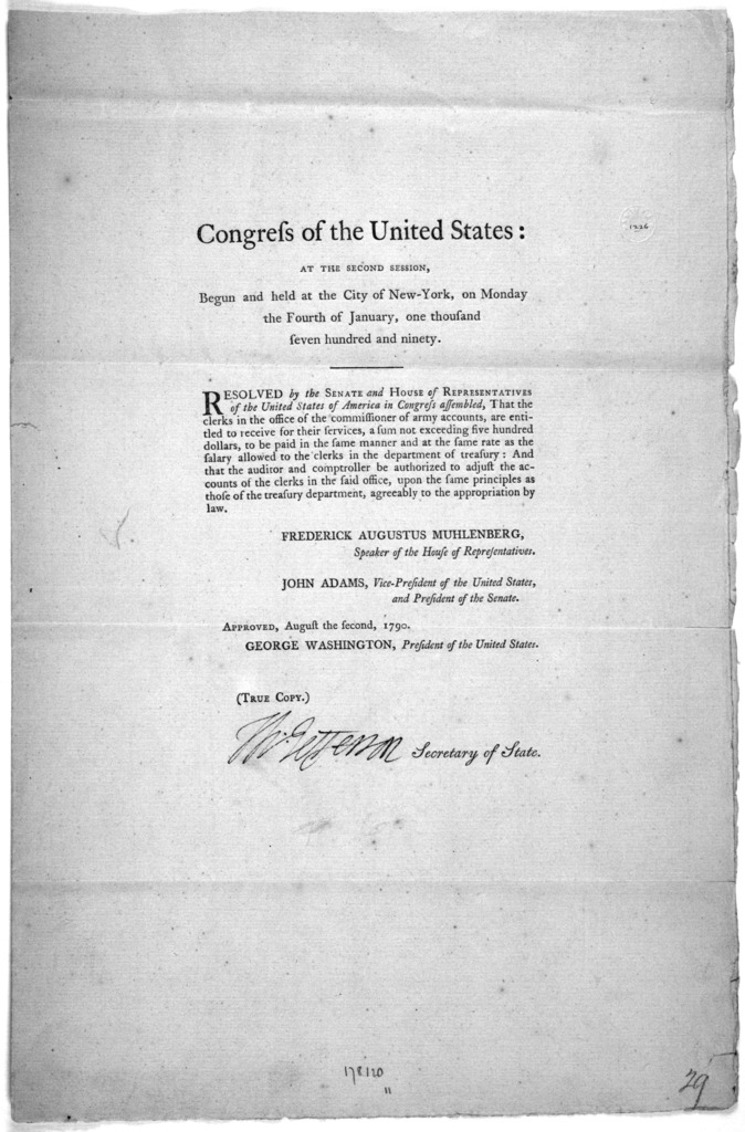 ... Resolved by the Senate and House of representatives of the United States of America in Congress assembled, That the clerks in the office of the commissioners of army accounts, are entitled to receive for their services, a sum not exceeding f