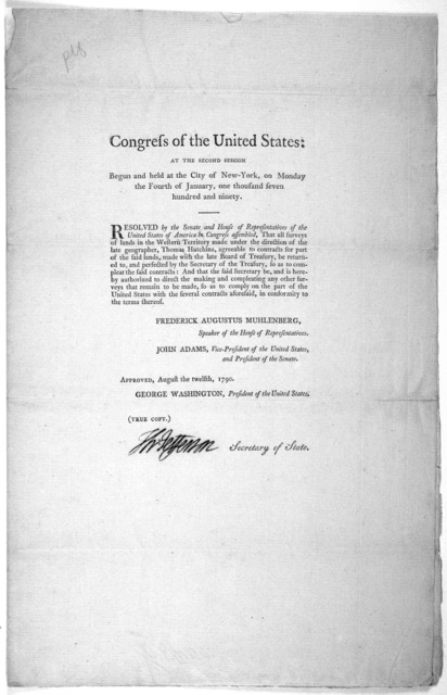 .. Resolved by the Senate and House of representatives of the United States of America in Congress assembled, that all surveys of lands in the western territory made under the direction of the late geographer, Thomas Hutchins, agreeable to contr