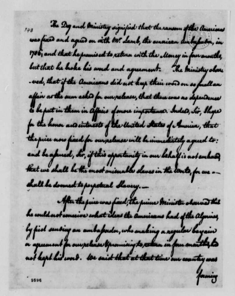 Richard O'Brien, et al to Thomas Jefferson, July 12, 1790
