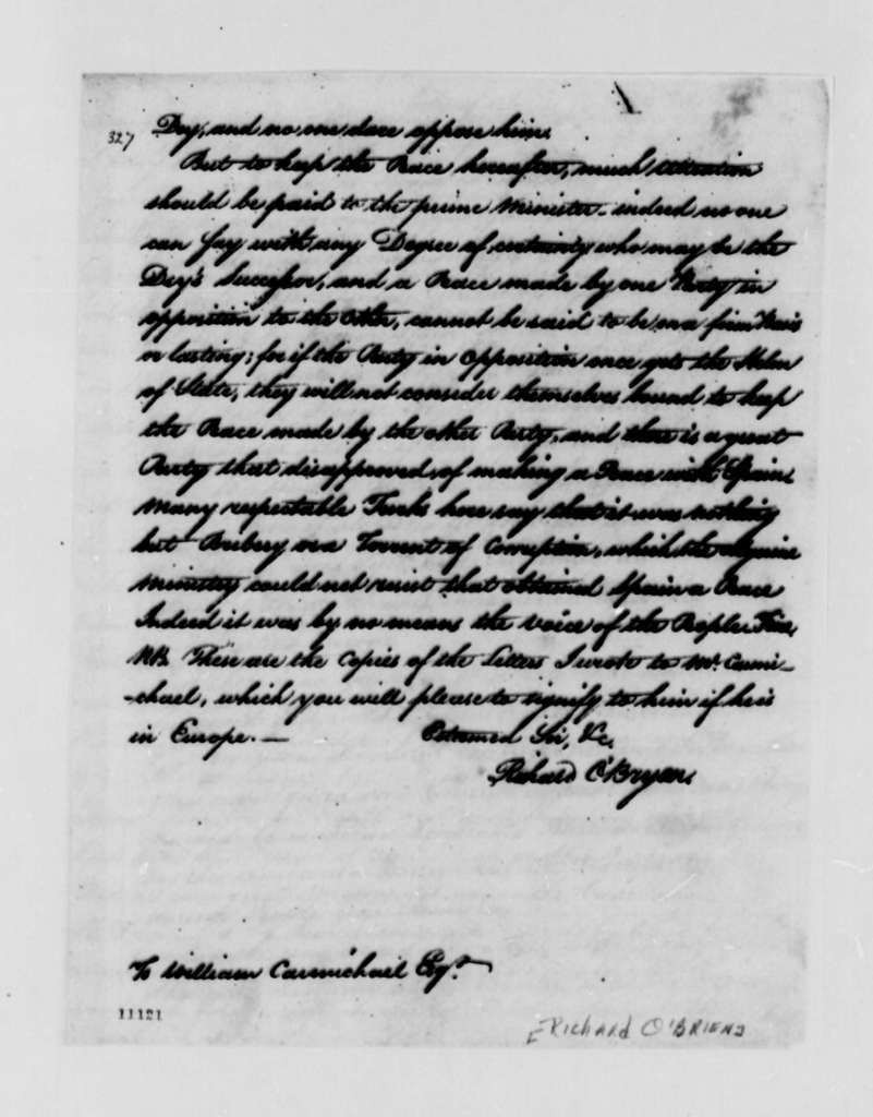 Richard O'Brien to William Carmichael, May 17, 1790