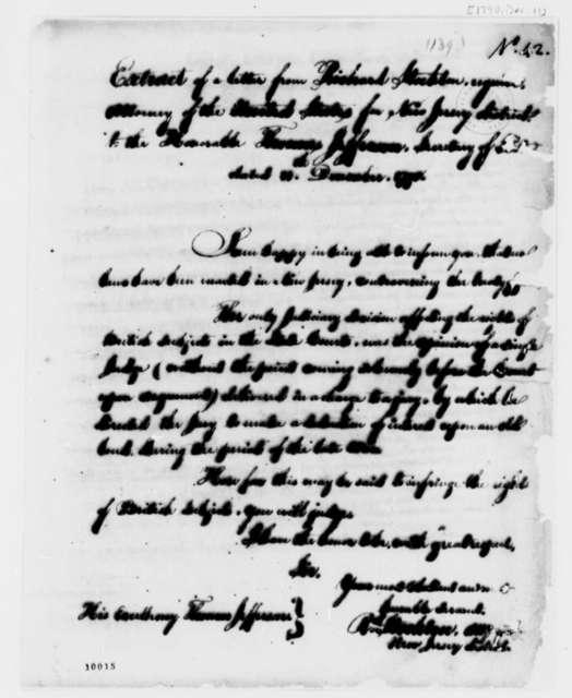 Richard Stockton to Thomas Jefferson, December 11, 1790, Extract