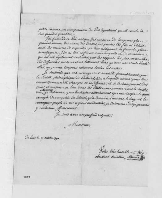 Rigobert Bonne to Thomas Jefferson, October 27, 1790, in French
