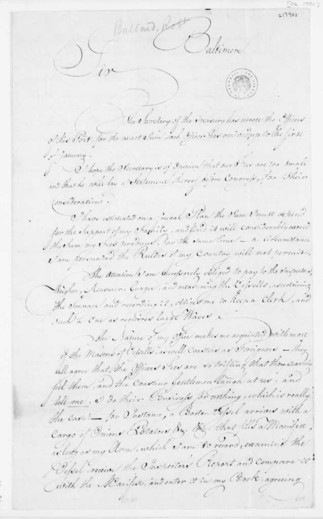 Robert Ballard to James Madison, December 25, 1790.