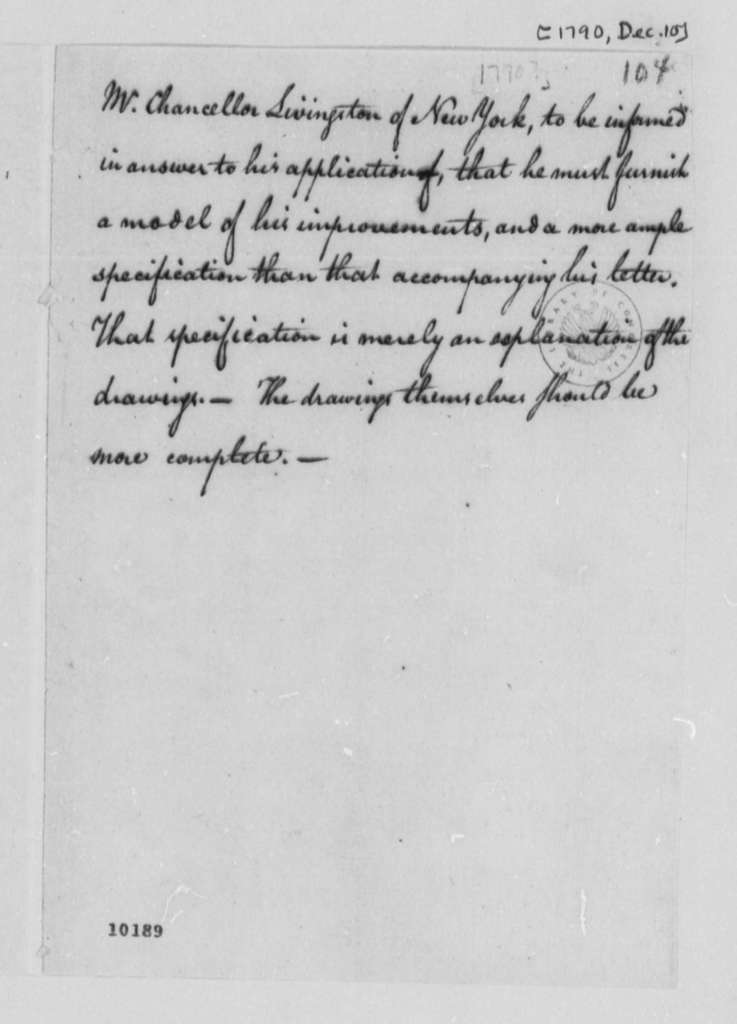Robert R. Livingston to Thomas Jefferson, December 10, 1790, with Memorandum on Patenting Proposed Invention
