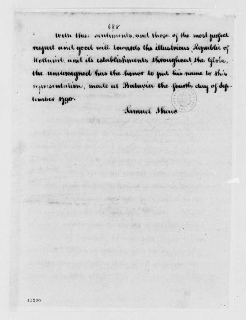 Samuel Shaw to Nicholas Englehard, September 4, 1790