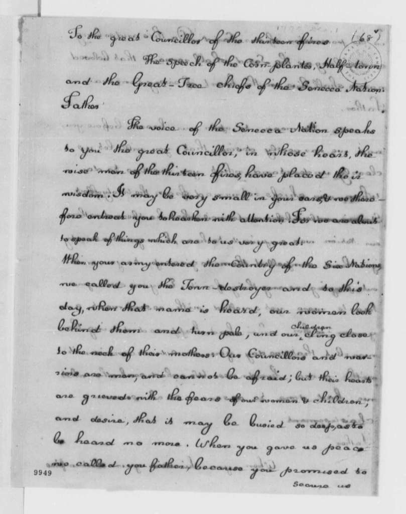 Seneca Nation to George Washington, December 1, 1790, with Copies