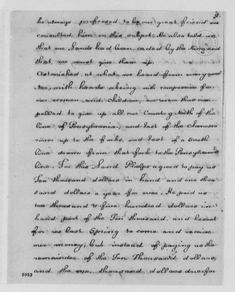 Seneca Nation to George Washington, December 1, 1790, with Copies