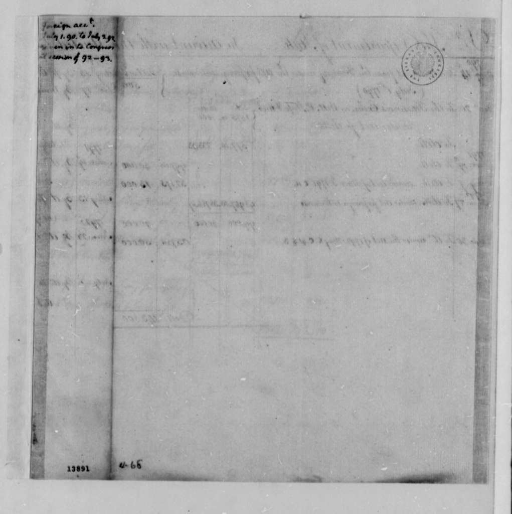 State Department, 1790-1792, Account
