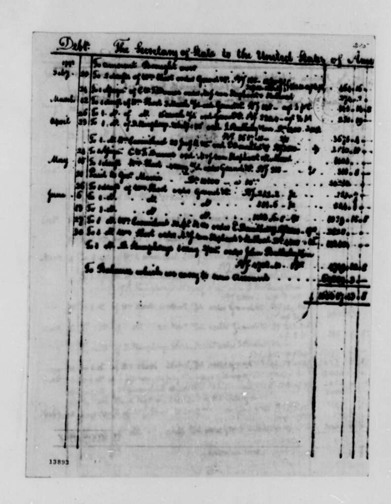 State Department, 1790-1792, Account of Debts