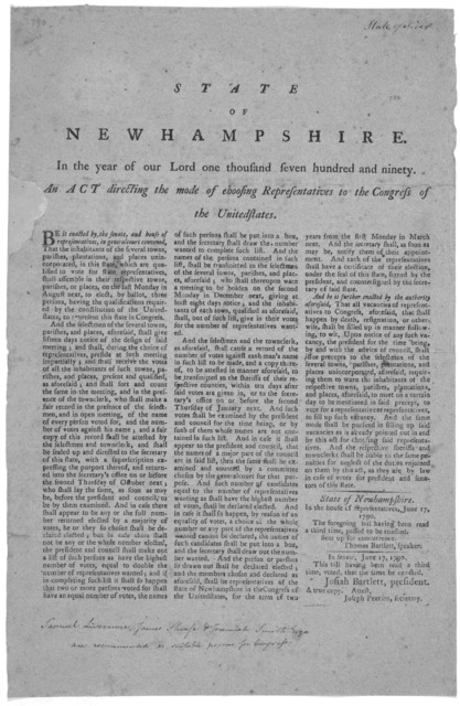 State of New Hampshire. In the year of our Lord one thousand seven hundred and ninety. An act directing the mode of choosing representatives to the Congress of the United States. ... A true copy Attest. Joseph Pearson, Secretary [Exeter: Printed