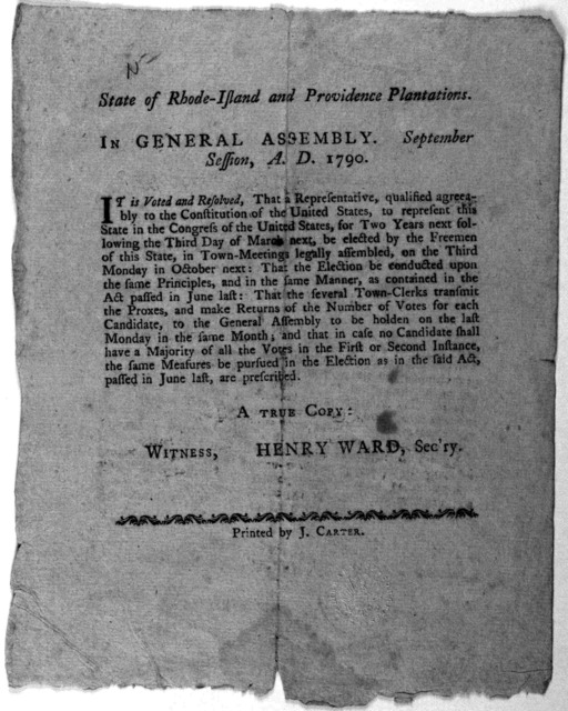State of Rhode-Island and Providence plantations. In General assembly, September session, A. D. 1790. It is voted and resolved, that a representative, qualified agreeably to the Constitution of the United States, to represent this state in the C