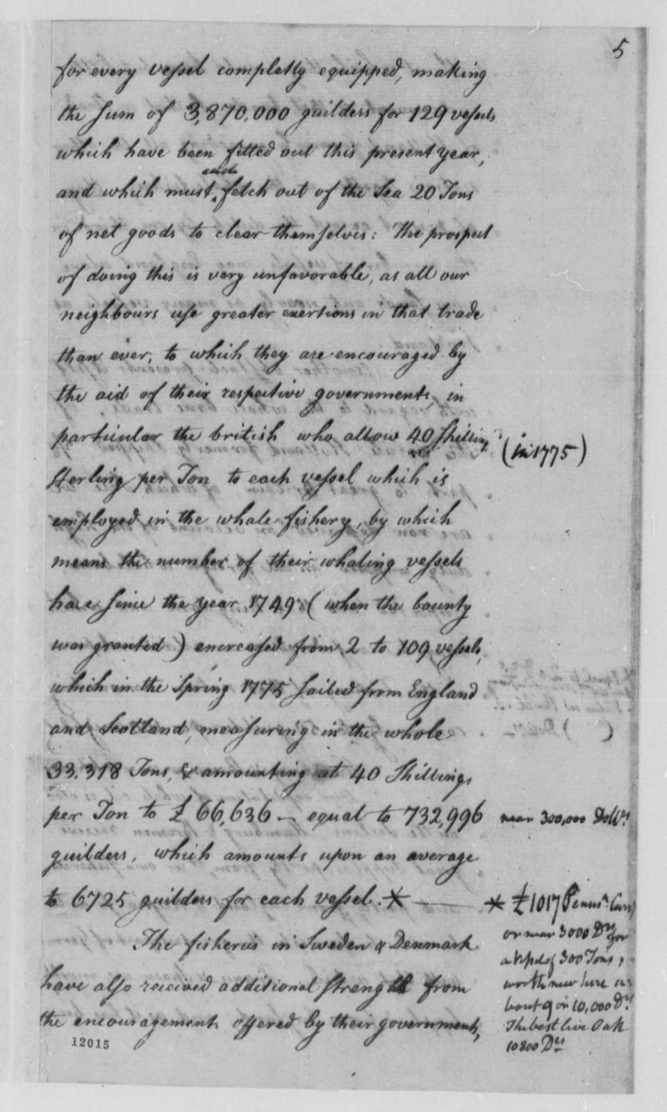 Tench Coxe, November 1790, Notes on Dutch Fisheries
