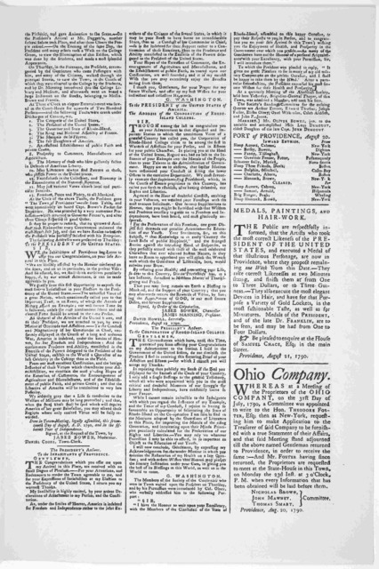 The Providence Gazette and Country Journal Saturday, August 21, 1790. No. 30 of Vol. XXVII. Published by John Carter, at the Post-Office, near the State-House. [1936].