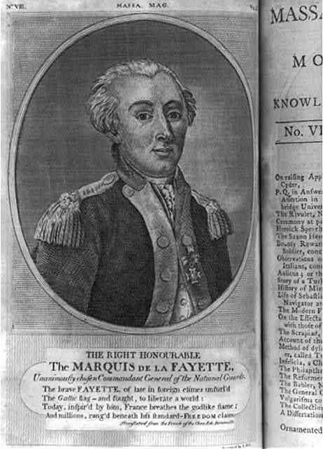 The right honourable the Marquis De La Fayette, unanimouslly chosen commandant of the National Guards / engraved by S. Hill.