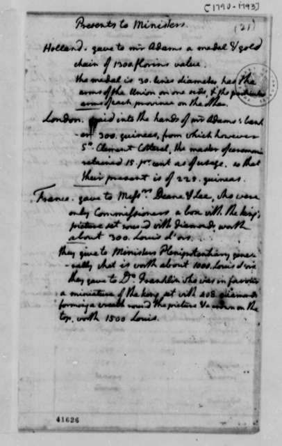 Thomas Jefferson, 1790-1793, List of Presents Received by Foreign Ministers