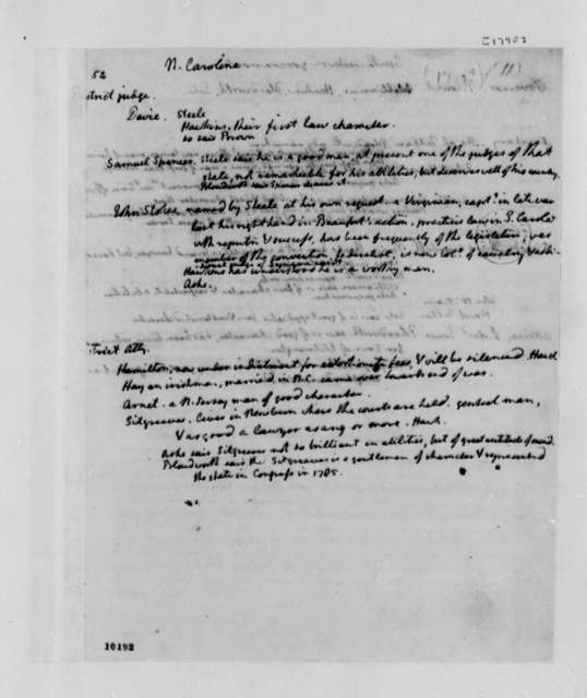 Thomas Jefferson, 1790, Memorandum on District Judges
