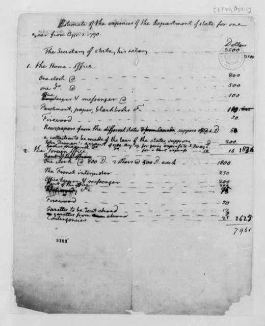 Thomas Jefferson, April 1, 1790, Estimate of Annual Expenses for Secretary of State
