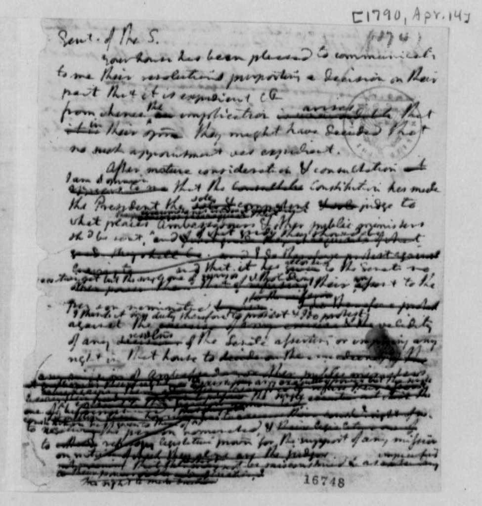 Thomas Jefferson, April 14, 1790, Draft for Letter to Senate