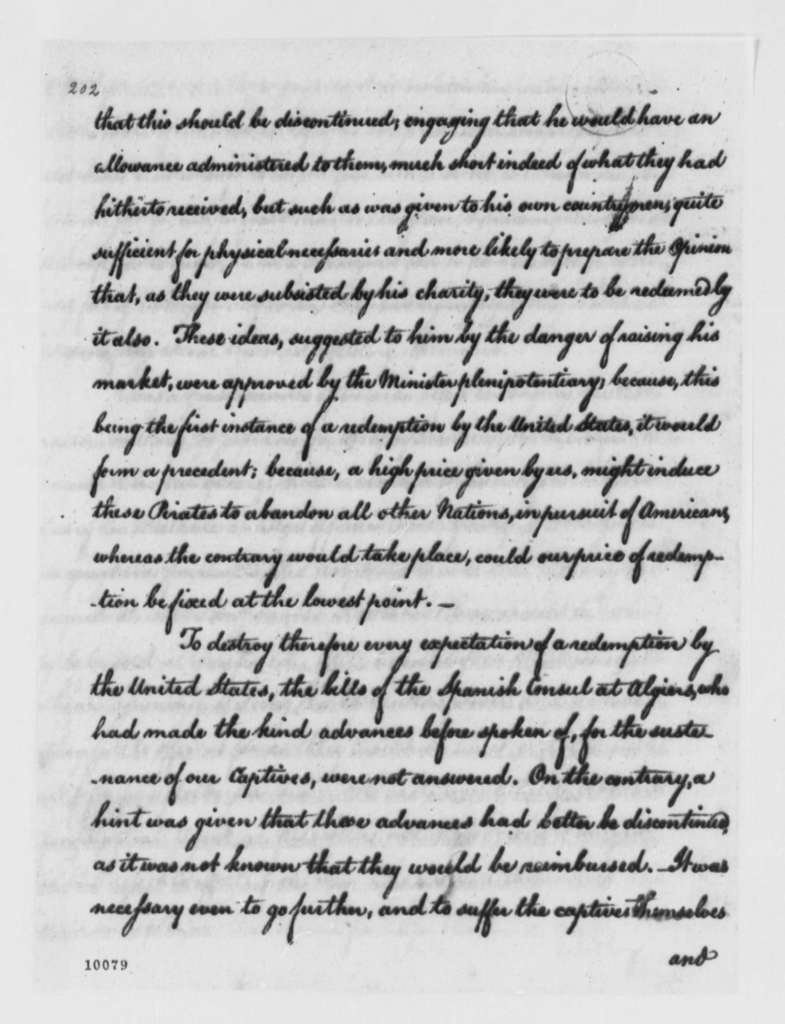 Thomas Jefferson, December 28, 1790, Negotiations for Release of Americans Captured by Algiers, Notes, Report to President
