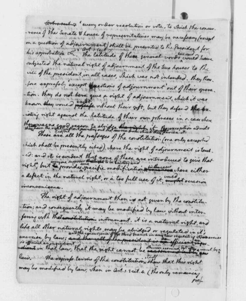 Thomas Jefferson, July 15, 1790, Memorandum on Seat of United States Capital